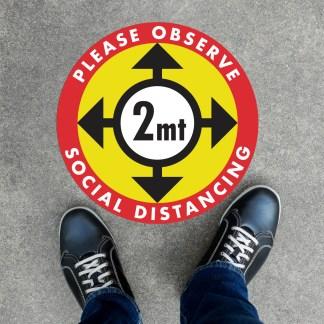 Social distancing floor graphic stickers