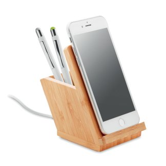 Bamboo wireless charger stand and pen holder