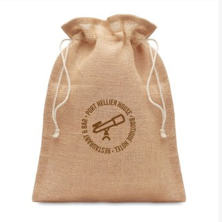Small jute drawcord gift bag