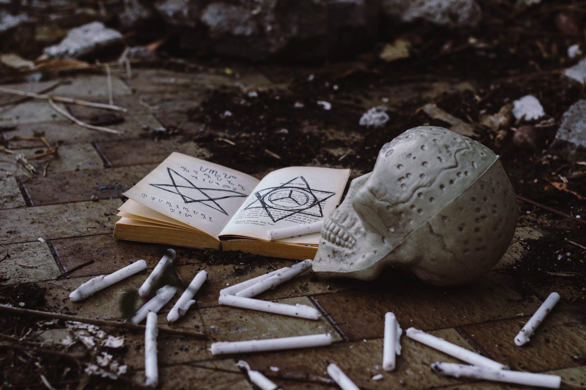 opened book near skull