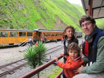Ross, Emiliano and Ian at Sibambe Station below Nariz del Diablo.