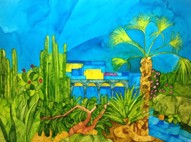 Majorelle Blue. Inks and dyes. 38 x 28 cm on Bockingford CP NOT 300 gsm. Available from Gallery 6
