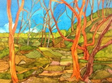 Trees near Booth House 38 x 28 cm Inks on Bockingford CP NOT. 300 gsm. SOLD