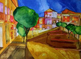 A quiet street in Cordoba Ink and watercolour. 28 x 38cm. £POA