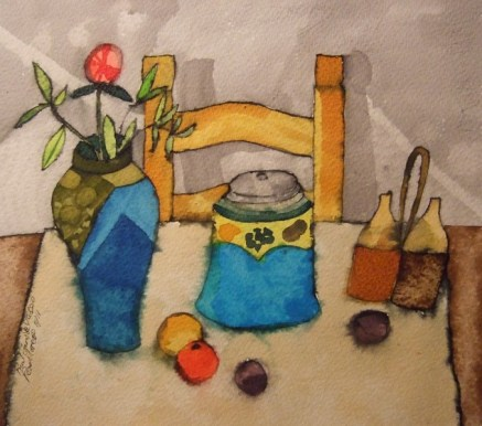 Fruit, Jars Vases. Pen, Dyes and Inks. 29 x 39 cm. SOLD