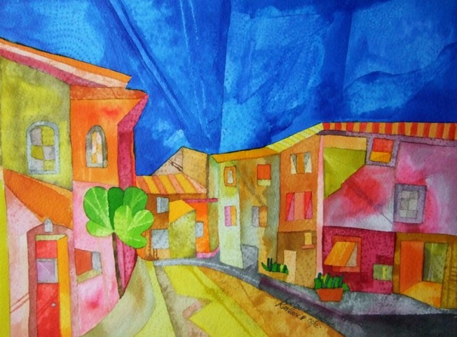 Rue Grande Colombiers. Dyes and Inks. 38 x 28 cm. SOLD