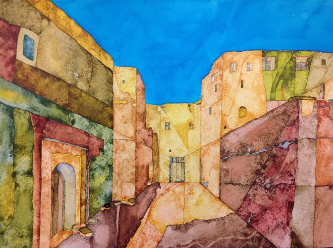 At Kasbah Oulad Otman. Inks on Moulin du Roy Torchon. 56 x 38 cm POA