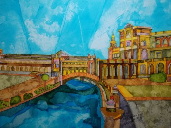 Plaza Espana Seville. Inks and Dyes. 38 x 28 cm. SOLD