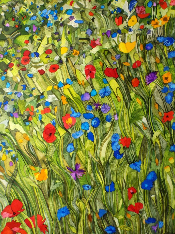 Meadow with poppies and cornflowers.Inks and dyes. 42 x 54 cm.on Moulin du Roy 300 gsm Torchon. SOLD