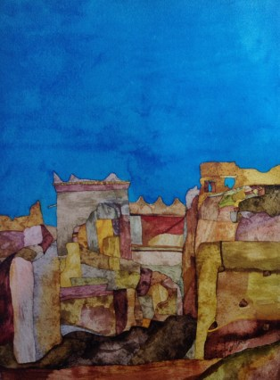 Kasbah Ruins Agdz. 39 x 29 cm Inks on Khadi 320 gsm Rough. POA
