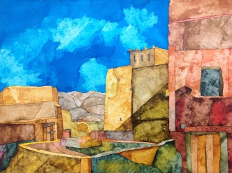 From the Roof of Oulad Otman Inks on Khadi 320 gsm rough. 39 x 29 cm POA