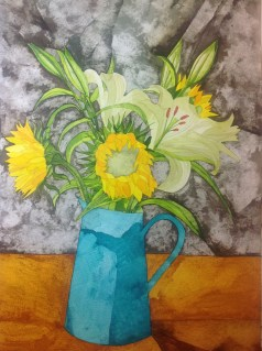 Sunflowers. Inks and Dyes. 28 x 38 cm. SOLD