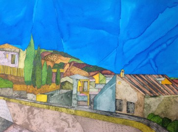 Spanish Land. Inks and dyes. 38 x 28 cm on Moulin du Roy 300 gsm Torchon. POA
