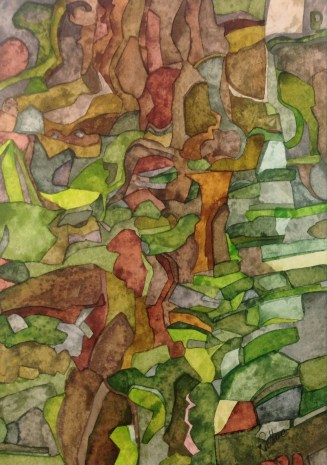 Tree roots and Stones. Inks on Bockingford Botanical paper 14 x 28 cm SOLD