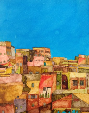 The Walls of the Kasbah. Inks on Khadi Rough paper. 29 x 39 cm. POA