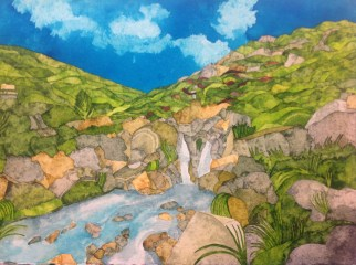 Waterfall at Edale. Inks on Khadi 320 gsm rough. 39 x 29 cm POA