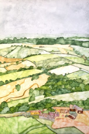Looking from Castle Hill. 38 x 56 cm Inks on Moulin du Roy 300 gsm Torchon. Available from Hope Art Gallery