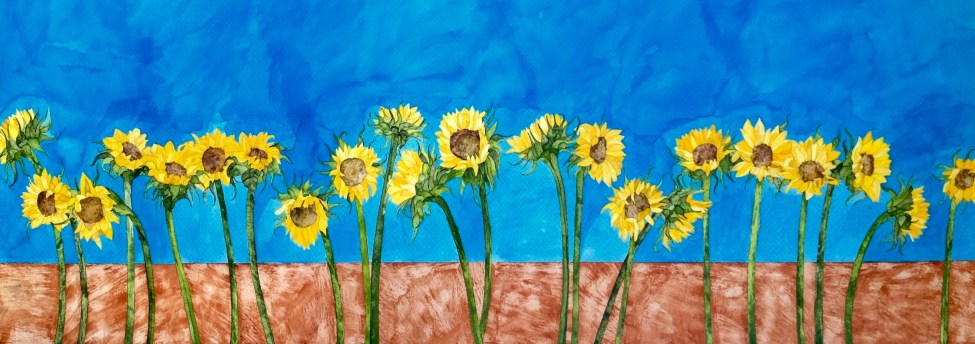 22 Sunflowers. Inks on Moulin du Roy Torchon. 110 x 50 cm SOLD