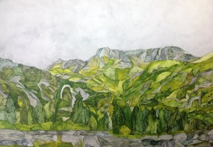 Across Langdale. Inks on Moulin du Roy Torchon. 56 x 38 cm POA