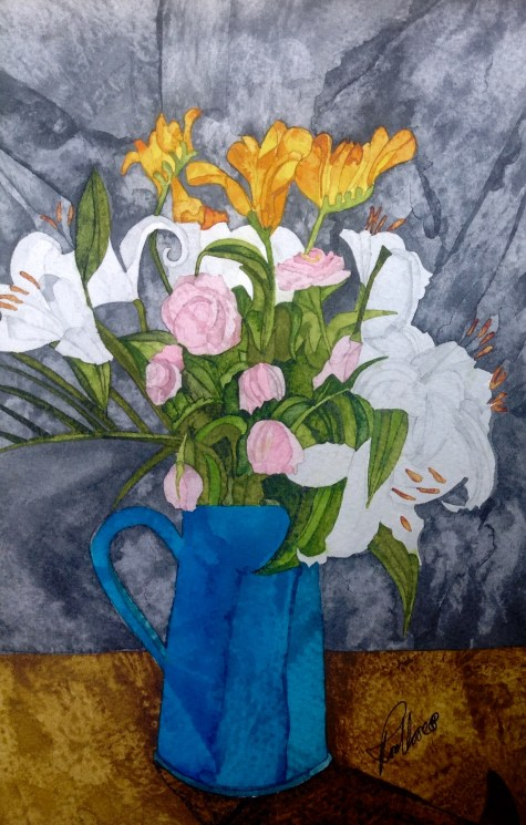 Fresias Roses Lillies 19 x 28 cm Inks on Moulin du Roy Torchon. SOLD