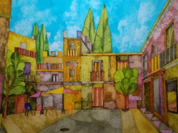 In Seville. Inks and Dyes. 38 x 28 cm. Available from the Smart Gallery, Batley