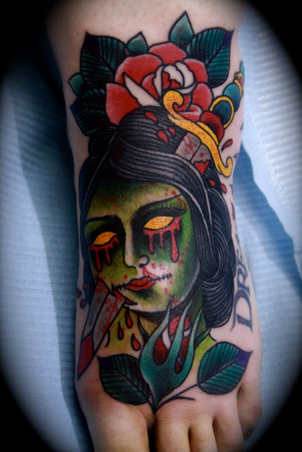 traditional zombie girl tattoos