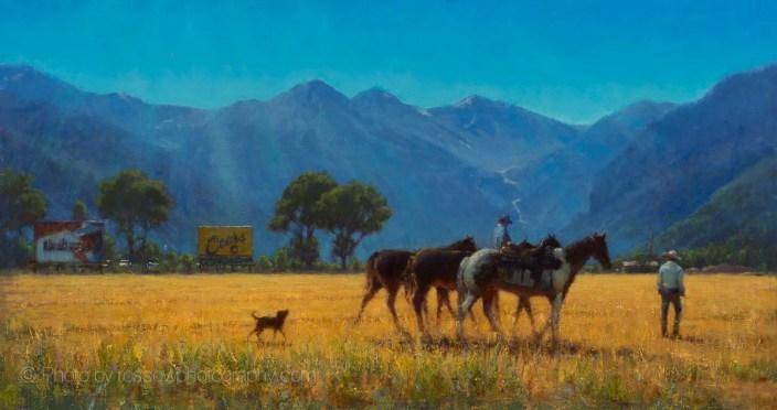 Moving Horses 20x38-Carl Bretzke