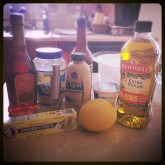 The dressing ingredients.