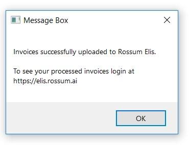 Rossum with UiPath - upload confirmation