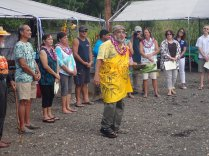 The community performs welcome and blessing rituals to begin the Ola I ke kai biodiversity survey.