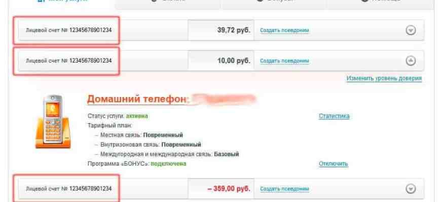 Litsevoy schet Rostelekom