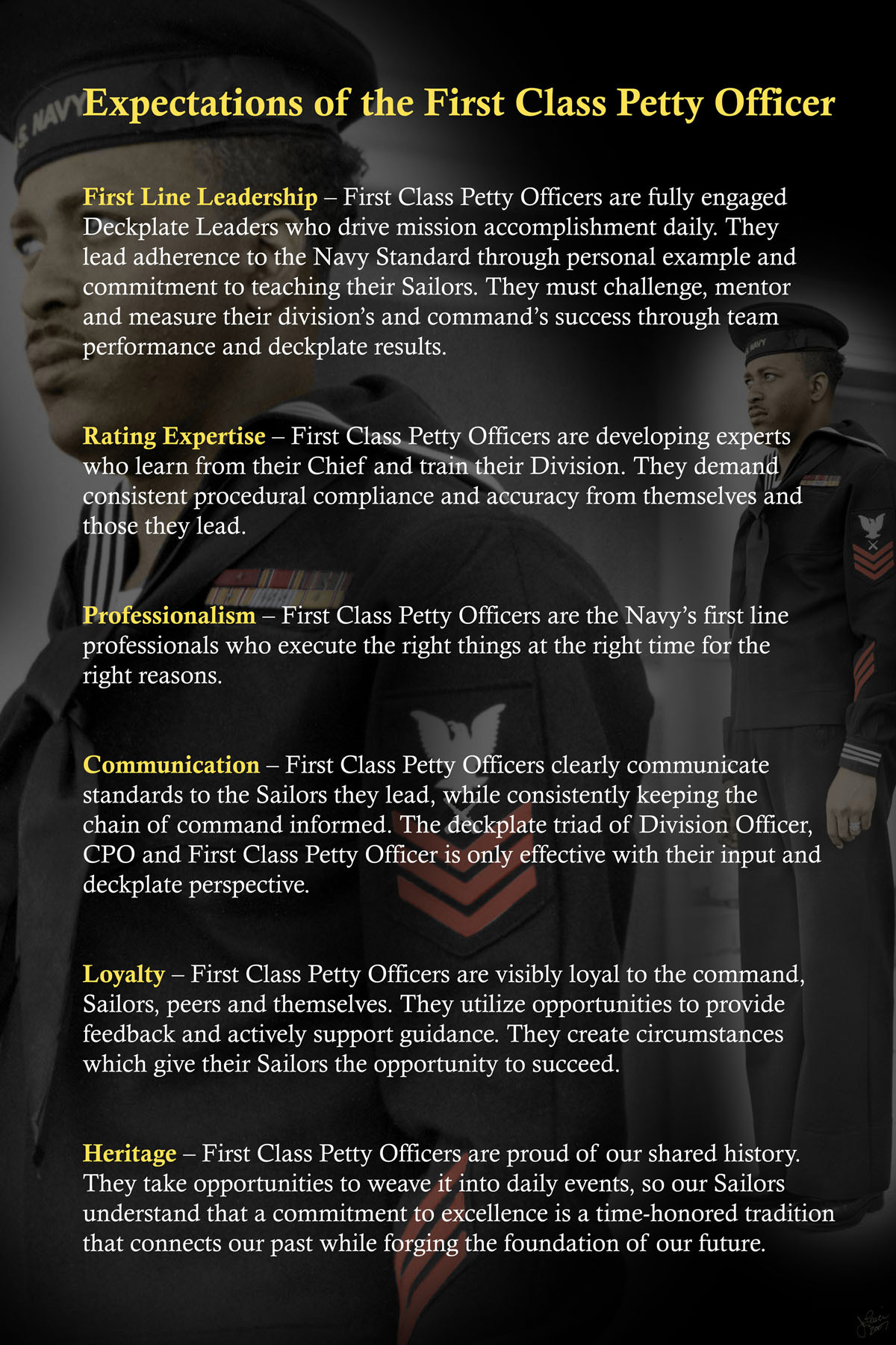 Expectations Of The First Class Petty Officer