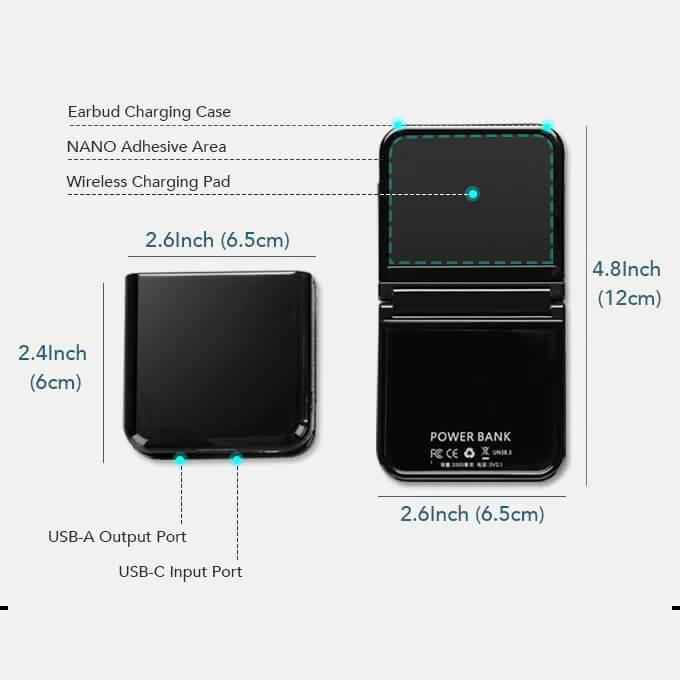 Double Bluetooth Earphone Bracelet, Folding Paste Charging Mobile Power Bank