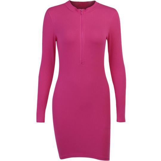 High Collar Temperament Slim Skirt 23258P Women's Autumn Zipper Knit Dress Female