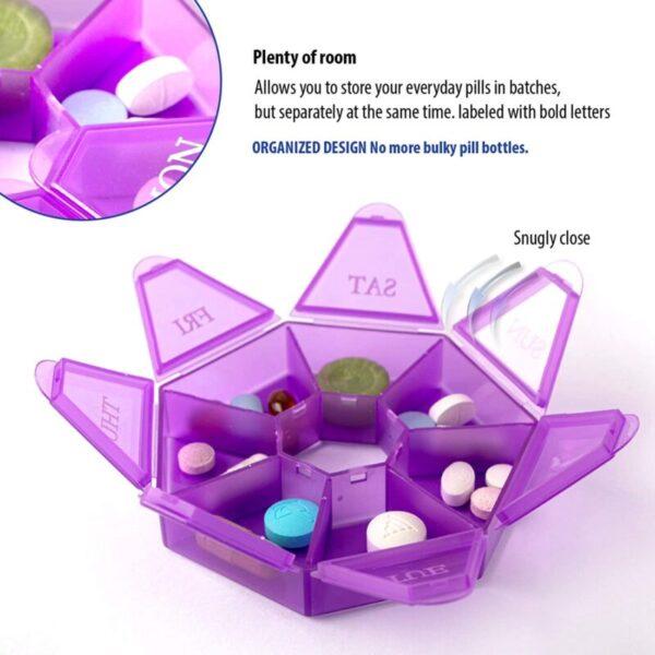 7-Sided Portable Pill Box Medicine Planner Small case