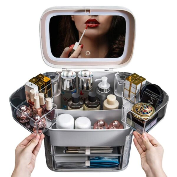 LED Light Cosmetic With led mirror cosmetic storage box