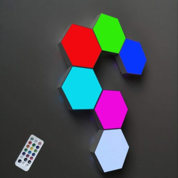 emote Control Hexagon Wall Light,Smart Wall-Mounted Touch-Sensitive