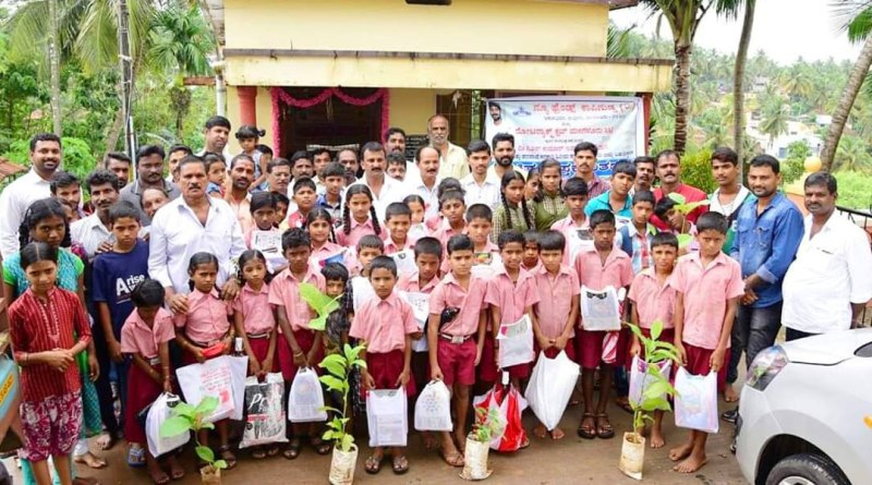 Saplings are being given to school students as part of Save Nature campaign.