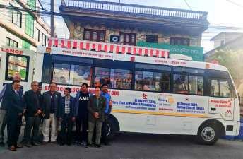 blood collection ac bus handover rotary club of pokhara annapurna 1