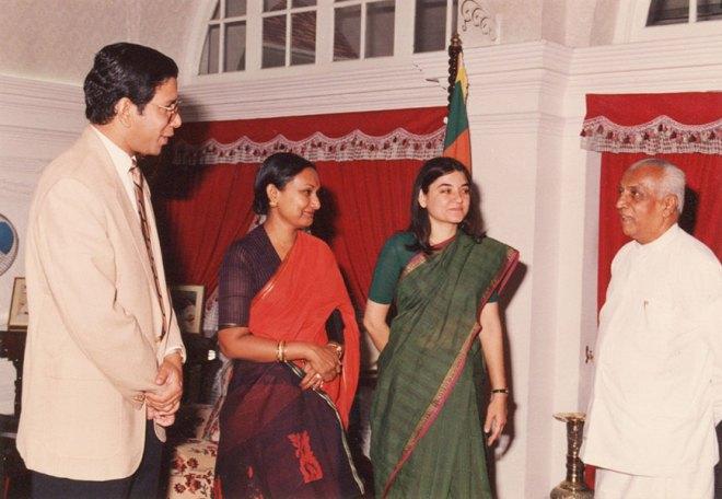K R Ravindran and Vanathy in 1991 with Sri Lankan Prime Minister D B Wijetunge, introducing his guest Maneka Gandhi.