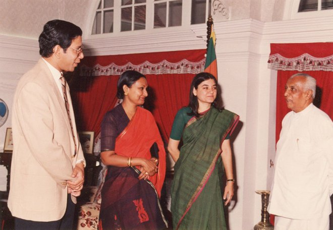 K R Ravindran and Vanathy in 1991 with Sri Lankan Prime Minister D B Wijetunge, introducing his guest Maneka Gandhi.