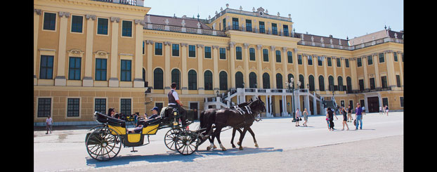 The Schonbrunn Palace in Vienna.