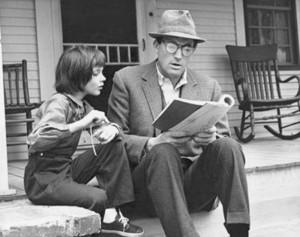 Scout, with her father Atticus, in the film.