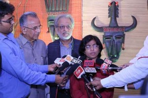 Dr Sunitha Krishnan, Co-founder - Prajwala, talking to the media along with PRIP Rajendra K Saboo and DG Sanjay Khanna