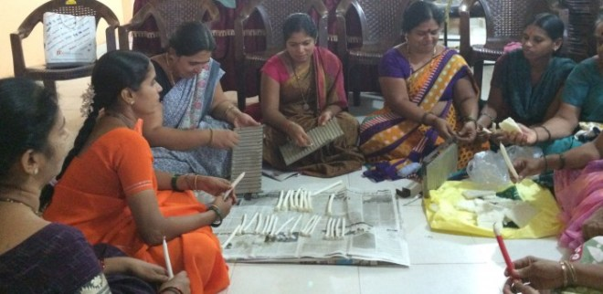 SHG members making candles