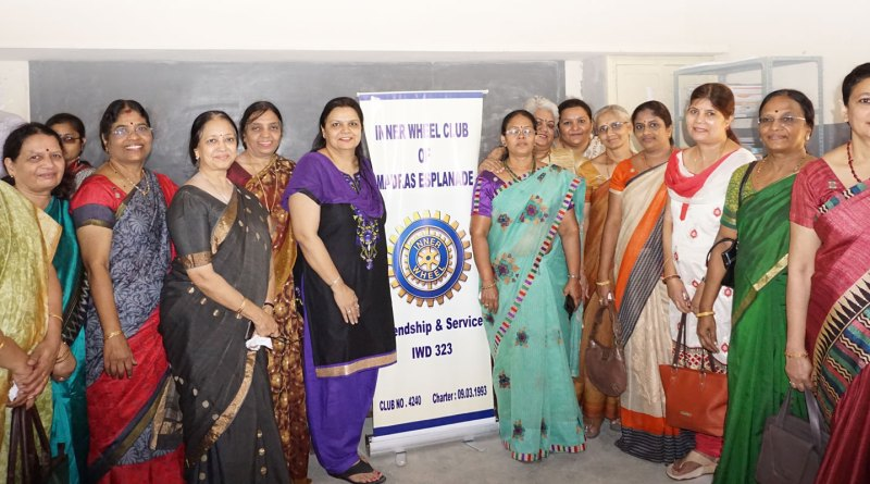 Inner Wheel members and Rotarians at a Rubella vaccination camp in a school.