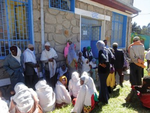 Above and below: With hope in their hearts a large number of elderly patients line up for eye surgery at the Debre Berhen Referral Hospital.