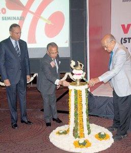 (From Left) RI President K R Ravindran, PRIP Rajendra K Saboo, PRIP Kalyan Banerjee.