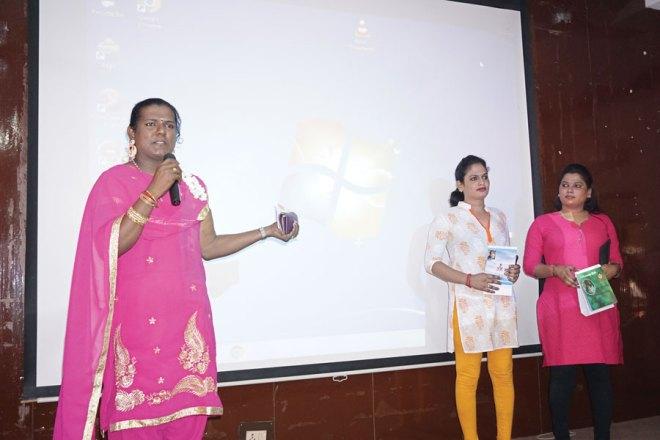 Shwetha Sudhakar launching the calendar with Kavi and Andrea.