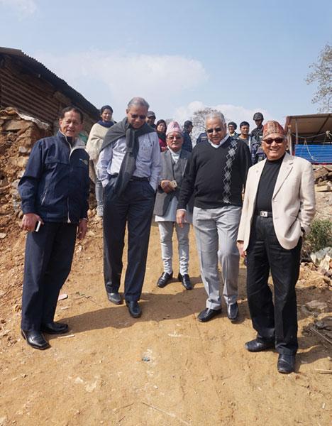 (From Left) DG Keshav Kunwar, RI President K R Ravindran, PDG Tirtha Man Sakya, RI Director Manoj Desai and PDG Ratna Man Sakya.